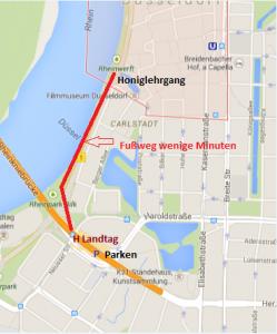 Lageplan UIZ mit Weg vom Q-Park Rheinkniebrücke zum UIZ